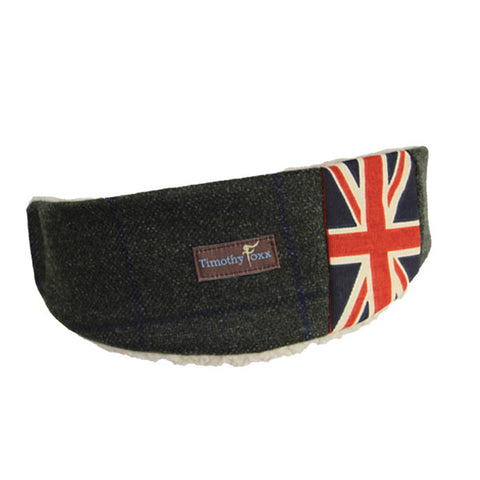 Union Jack Tweed Ear Warmer in Steel