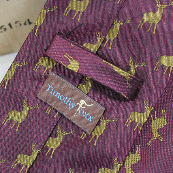 Silk Tie with Stags