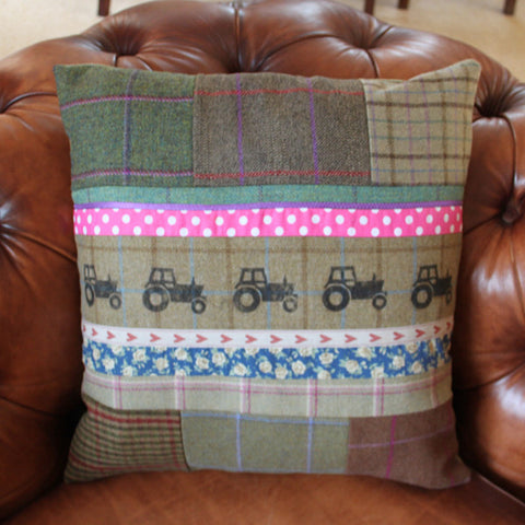 Tractor Tweed Cushion
