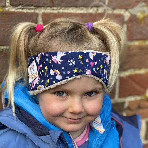 Children's Earwarmer in Navy Unicorn & Rainbow