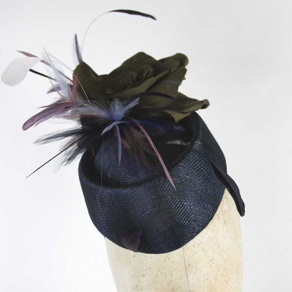 Tweed Rolo Pillbox Fascinator with Tweed Roses