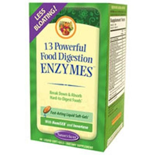13 Powerful Food Digestion Enzymes - 60 Softgels