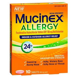 Mucinex 24 Hour Allergy Tablets 10 Tabs By Airborne