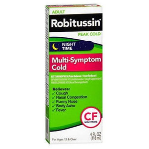 Robitussin Adult Nighttime Multi-Symptom Peak Cold Liquid 4 oz By Robitussin