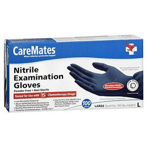 Caremates Nitrile-Pf Examination Gloves Large 100 each By Caremates