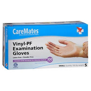 Caremates Vinyl-Pf Examination Gloves Small 100 each By Caremates