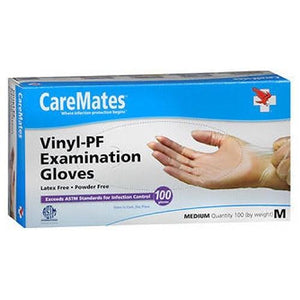 Caremates Vinyl-Pf Examination Gloves Medium 100 each By Caremates
