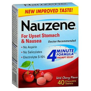 Nauzene Upset Stomach Relief Chewable Tablets Cherry 40 tabs By Nauzene