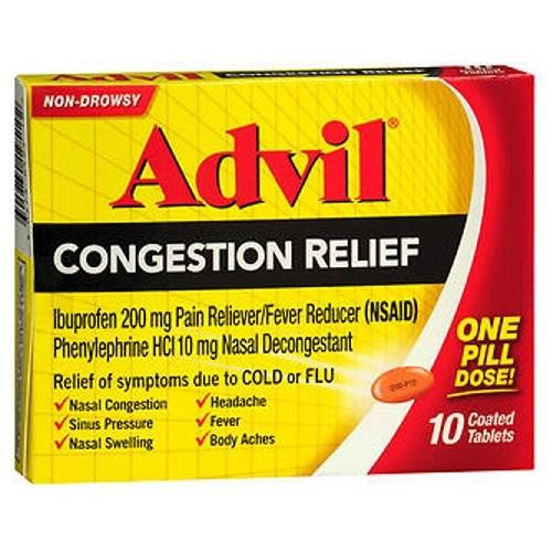 Advil Congestion Relief Coated Tablets 10 tabs By Advil