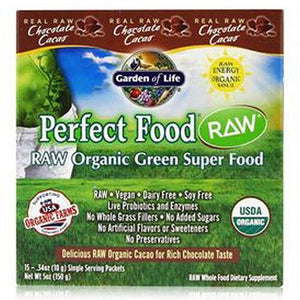 Raw Organic Chocolate Packets 15 Pckts (10g Each) By Garden of Life