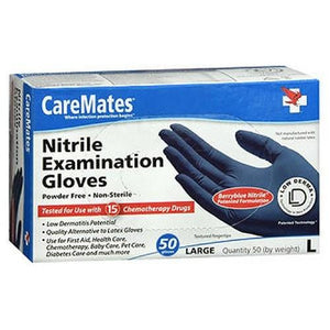 Caremates Nitrile-Pf Examination Gloves Large 50 each By Caremates