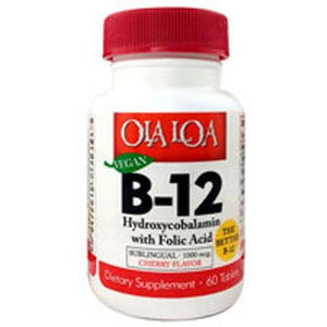 Hydroxycobalamin B-12 with Folic Acid 60 tabs By Ola Loa Products