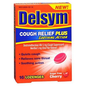 Delsym Cough Relief Plus Soothing Action Lozenges Sugar Free Cherry 16 Lozenges By Delsym