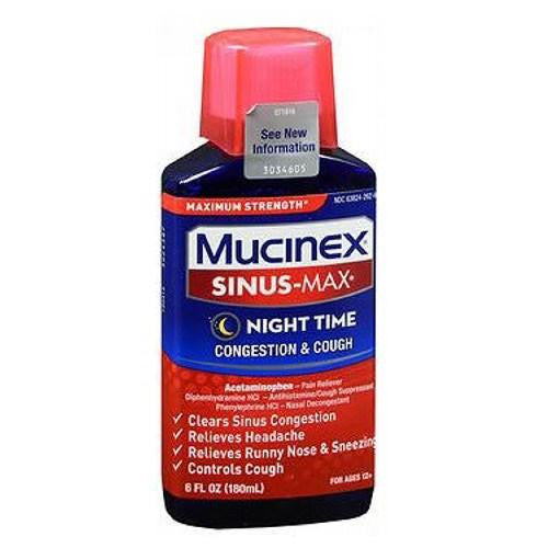 Mucinex Sinus-Max Congestion & Cough Liquid Night Time 6 oz By Airborne