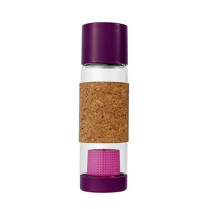 Glass Bottle with Tea Infuser & Cork Sleeve Elderberry 19 oz By Full Circle Home