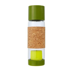 Glass Bottle with Tea Infuser & Cork Sleeve Sencha Green 19 oz By Full Circle Home
