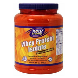 Whey Protein Isolate Toffee Caramel Fudge 1.8 lbs By Now Foods