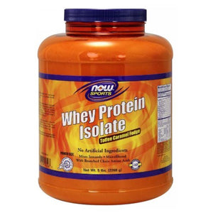 Whey Protein Isolate Toffee Caramel Fudge 5 lbs By Now Foods