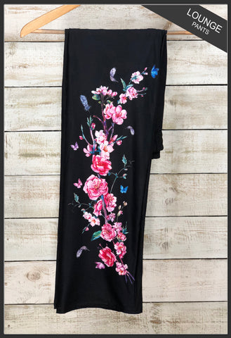 Women's Custom Black Floral Lounge Pants Blossom Floral Lounge Pants  - Arrow Trend Leggings