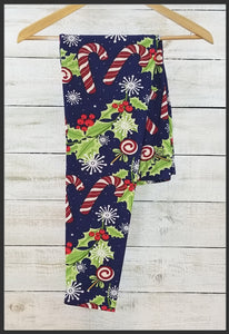 Christmas Candy Cane & Mistletoe Leggings Buttery Soft Christmas Leggings - Arrow Trend Leggings