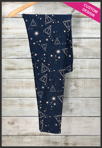 Custom Harry Potter Leggings Harry Potter Deathly Hallows Novelty Leggings - Arrow Trends Leggings