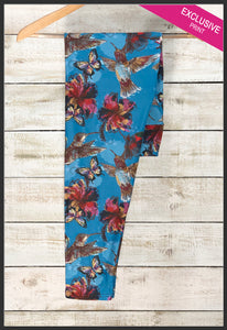 Custom Hummingbird Leggings Beautiful Floral Hummingbird Leggings - Arrow Trend Leggings