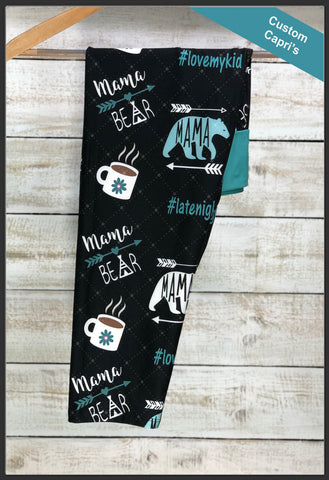 Mama Bear Capri Leggings Custom Print Mama Bear Coffee Capri Leggings - Arrow Trend Leggings