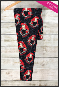 Custom Tattooed Ariel Leggings Disney's Rebel Mermaid Princess Leggings - Arrow Trend Leggings