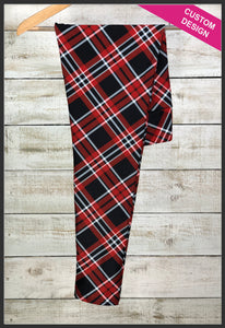 Red Tartan Plaid Leggings Custom Print Novelty Leggings Custom Plaid Leggings - Arrow Trend Leggings