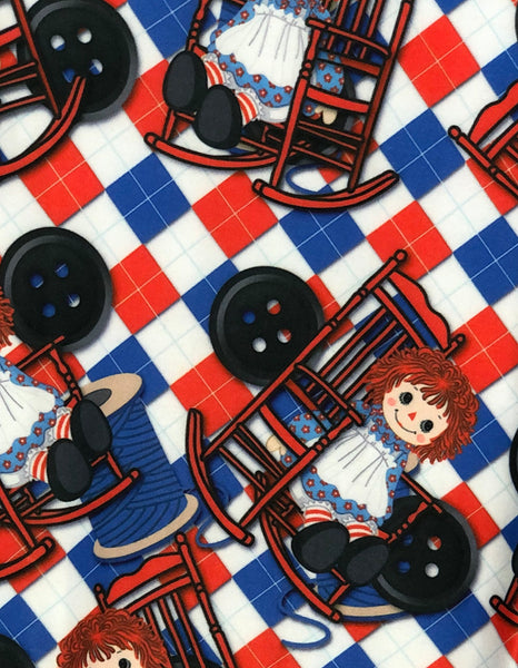 Custom Raggedy Ann Leggings Raggedy Ann Novelty Leggings close up - Arrow Trend Leggings