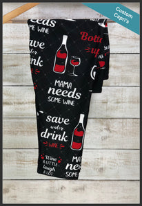 Mama Needs Wine Capri Leggings Custom Print Mom Capri Leggings - Arrow Trend Leggings