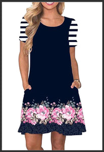 Women's Navy Floral Dress w Pockets Short Sleeve Summer Pocket Dresses  - Arrow Trend Leggings