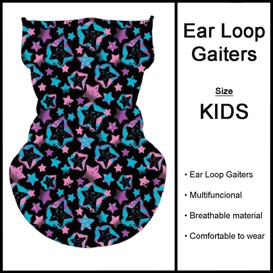 Kids Custom Print Neon Stars Gaiters Face Covers - Arrow Trend Leggings