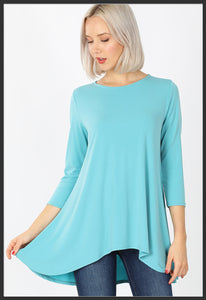 Women's Solid Mint Top 3/4 Sleeve High Low Hem Tunic Top Ash Mint - Arrow Trend Leggings