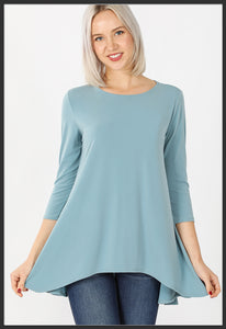 Women's Solid Blue Grey Top 3/4 Sleeve High Low Hem Tunic Top Grayish Blue - Arrow Trend Leggings