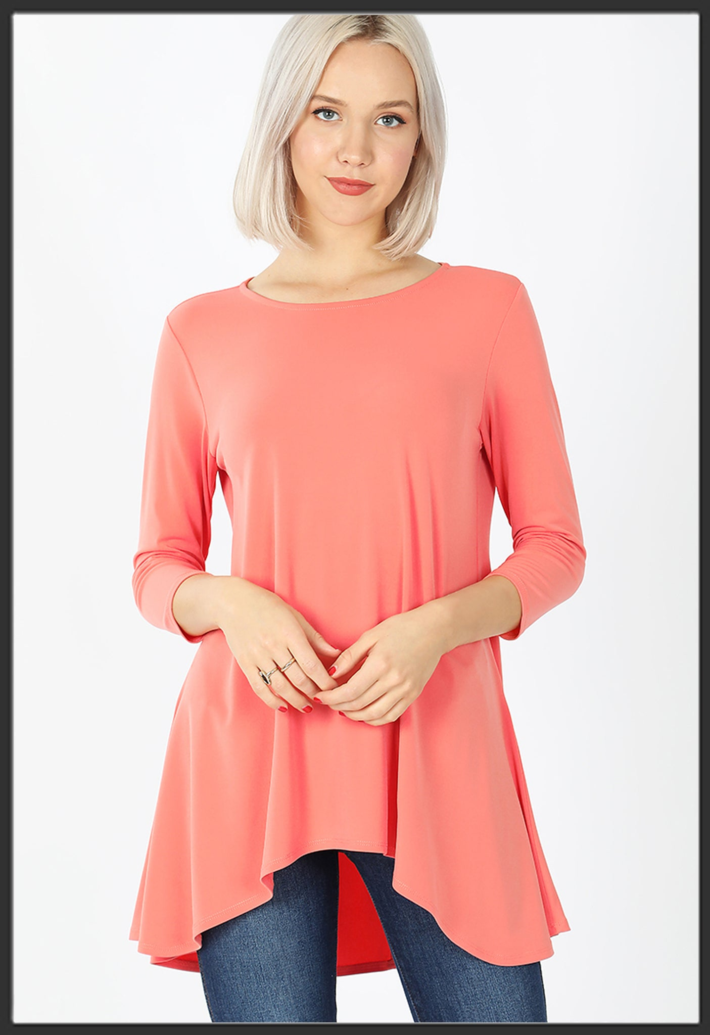 Women's Solid Coral Top 3/4 Sleeve High Low Hem Tunic Top Coral - Arrow Trend Leggings