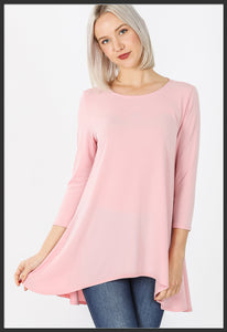 Women's Solid Light Pink Top 3/4 Sleeve High Low Hem Tunic Top Pink - Arrow Trend Leggings