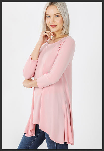 Women's Solid Light Pink Top 3/4 Sleeve High Low Hem Tunic Top Pink Side - Arrow Trend Leggings