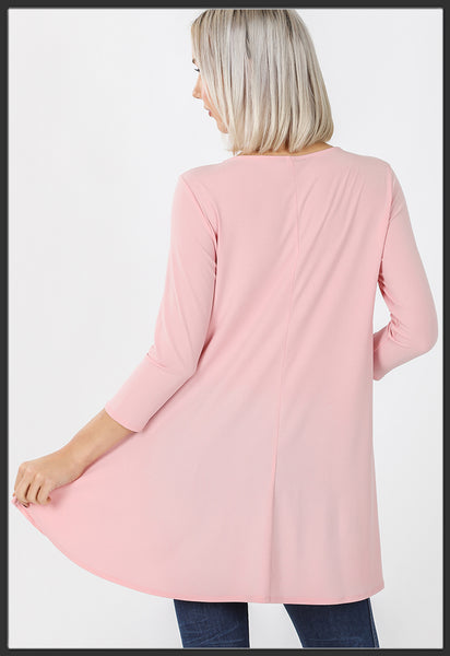 Women's Solid Light Pink Top 3/4 Sleeve High Low Hem Tunic Top Pink Back - Arrow Trend Leggings