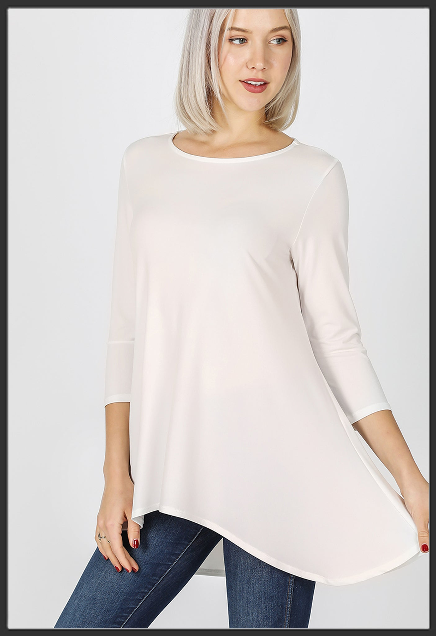 Women's Solid Ivory Top 3/4 Sleeve High Low Hem Tunic Top Ivory - Arrow Trend Leggings