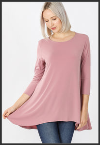 Women's Solid Rose Pink Top 3/4 Sleeve High Low Hem Tunic Top Light Rose Pink - Arrow Trend Leggings