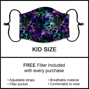 Kids Cheetah Galaxy Custom Fashion Face Mask Kids Custom Face Covering - Arrow Trend Leggings