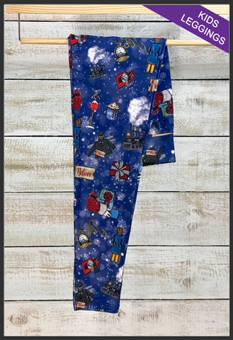 Kids Custom Print Christmas Leggings Kids Polar Express Christmas Leggings - Arrow Trend leggings