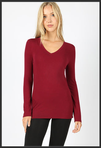 Women's Basic long sleeve tee v-neck cabernet dark red - Arrow trend leggings