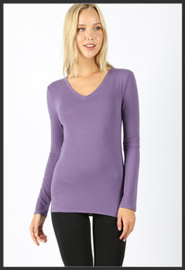 Women's Basic Long Sleeve Tee Lilac Purple V-Neck Solid - Arrow Trend Leggings