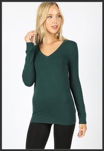 Women's Basic Long Sleeve Tee hunter green V-Neck Solid - Arrow Trend Leggings