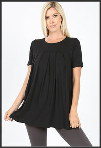 Women's Round Neck Pleated Tunic Top w/ Pockets Black Short Sleeve Tunic Tops - Arrow Trend Leggings