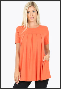 Women's Round Neck Pleated Tunic Top w/ Pockets Ash Copper Short Sleeve Spring Tunic Tops Orange - Arrow Tend Leggings
