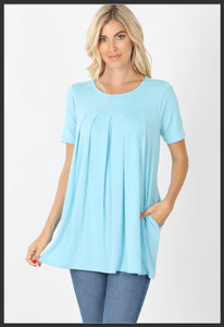 Women's Round Neck Pleated Tunic Top w/ Pockets Baby Blue Short Sleeve Spring Tunic Tops Light Blue - Arrow Trend Leggings
