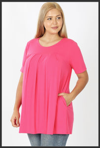 Women's Round Neck Pleated Tunic Top w/ Pockets Pink Short Sleeve Spring Tunic Tops Fuchsia Bright Pink - Arrow Trend Leggings